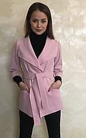 Пальто на запах розового цвета с кашемира