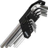 Набор торцевых шестигранных ключей удлиненных 9шт СRV, 1,5-10,0мм Miol 56-396
