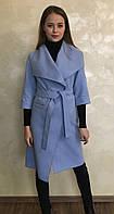 Длинное пальто на запах голубого цвета с кашемира