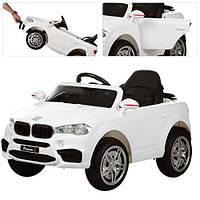 Детский электромобиль M 3180 EBLR-1 BMW, кожаное сиденье, на резиновых ЕВА колёсах, белый