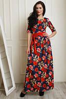 Нарядное длинное платье из коттона с ремешком