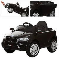 Детский электромобиль M 3180 EBLR-2 BMW, кожаное сиденье, на резиновых ЕВА колёсах, чёрный