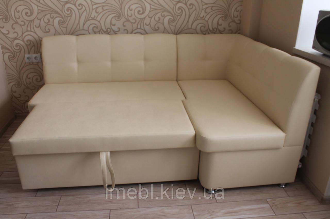 Мягкий уголок в кухню со спальным местом в качественном материале обшивки (Молочный)