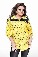 Женская стильная рубашка с принтом 177/1 / батал / желтая