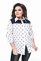 Женская стильная рубашка с принтом 177/1 / батал / белая