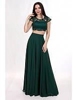 Вечернее платье с коротким топом и широкой юбкой
