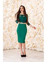 Раздельное коктейльное платье с рукавом