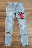 Джинсы для девочек с вышивкой 4 и 14 лет