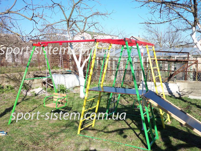 Детская горка качели и спортивный комплекс Спутник для улицы