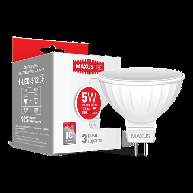 Лампа светодиодная MAXUS MR16 5W GU5.3 мягкий свет 220 V