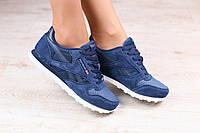 Женские кроссовки, синие, из натуральной замши, с кожаными вставками