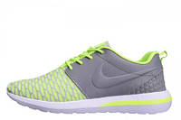 Мужские кроссовки Nike  Roshe Run 3M Flyknit Green Grey