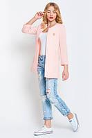 Кардиган женский пиджак удлиненный стильный розовый / пудра