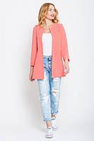 Кардиган женский пиджак удлиненный стильный коралловый