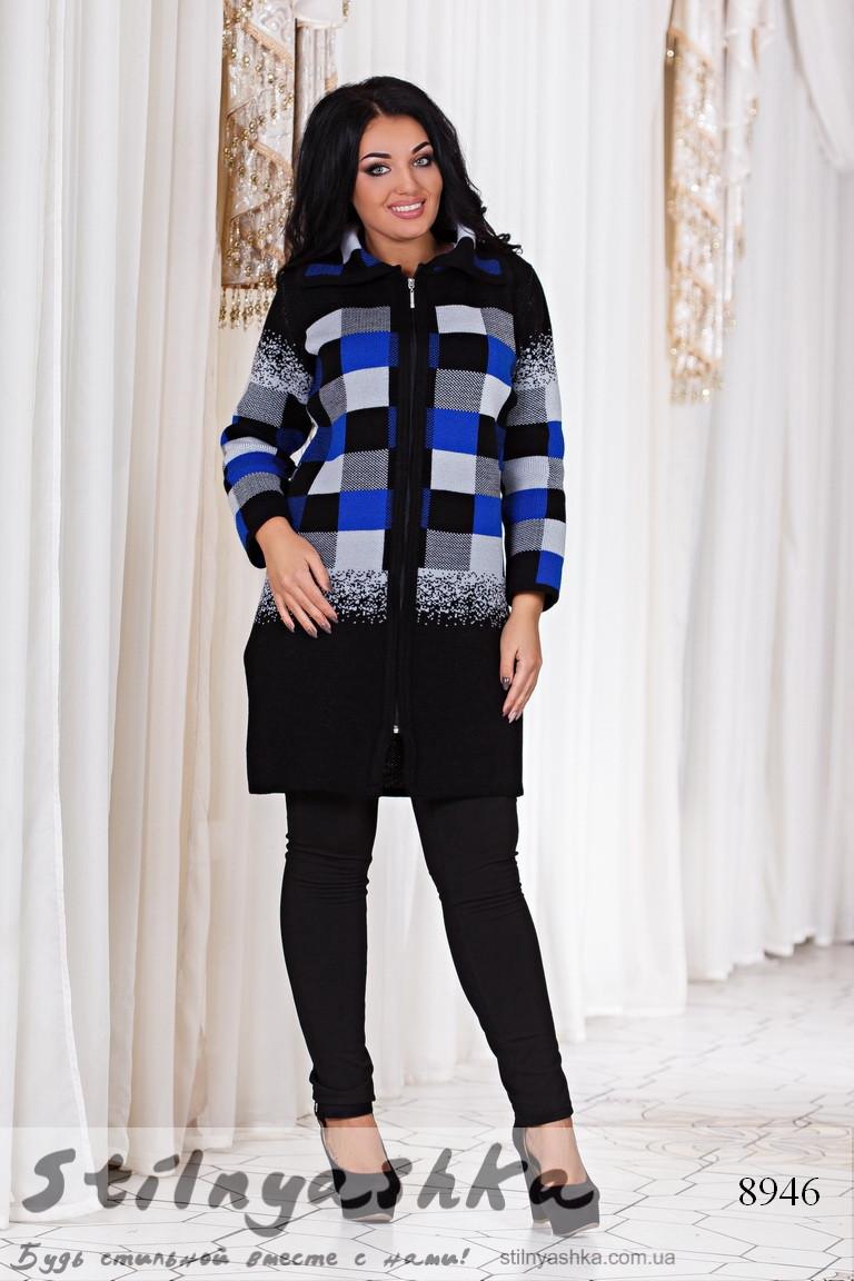 женское вязанное пальто большого размера