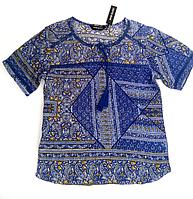 Блузка женская синяя, вискоза, р-ры 50-52