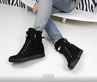 Женские кроссовки сникерсы на танкетке 6 см, эко замша, черные /  сникерсы женские весна, модные, удобные