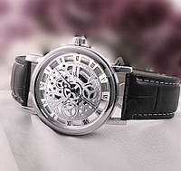 Кварцевые мужские часы скелетоны Geneva Silver