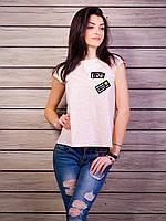 """Женская футболка с нашивками """"Wink if you want me"""""""
