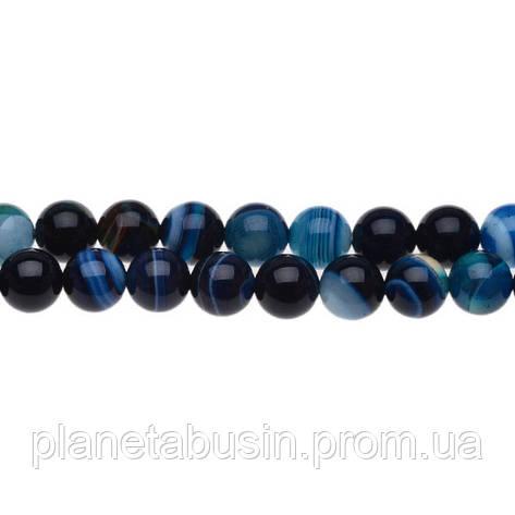 8 мм Синий Полосатый Агат, CN169, Натуральный камень, Форма: Шар, Отверстие: 1мм, кол-во: 47-48 шт/нить, фото 2