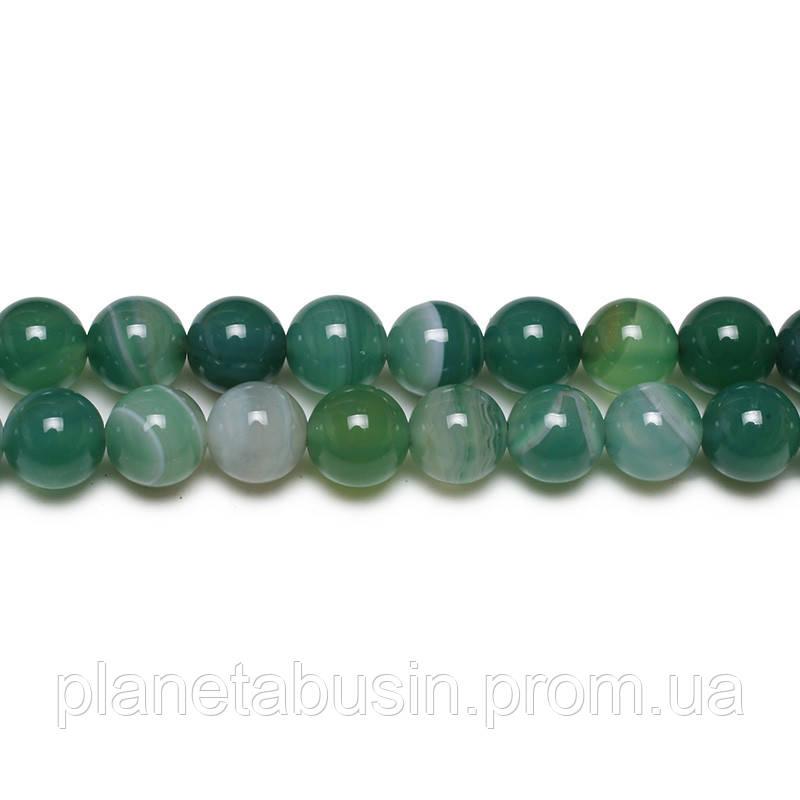 8 мм Зелёный Полосатый Агат, CN170, Натуральный камень, Форма: Шар, Отверстие: 1мм, кол-во: 47-48 шт/нить