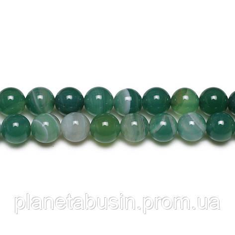 8 мм Зелёный Полосатый Агат, CN170, Натуральный камень, Форма: Шар, Отверстие: 1мм, кол-во: 47-48 шт/нить, фото 2