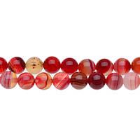 Красный полосатый Агат, Натуральный камень, На нитях, бусины 8 мм, Круглые, Отверстие 1 мм, кол-во: 48 шт/нить