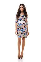 Красивое женское платье в цветах - IK3039