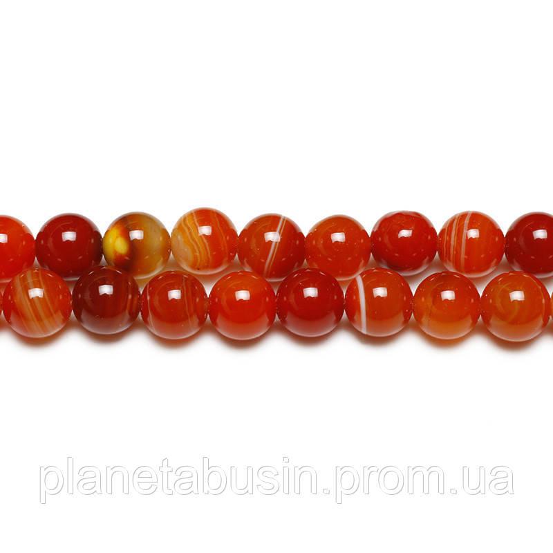 8 мм Оранжевый Полосатый Агат, CN172, Натуральный камень, Форма: Шар, Отверстие: 1мм, кол-во: 47-48 шт/нить