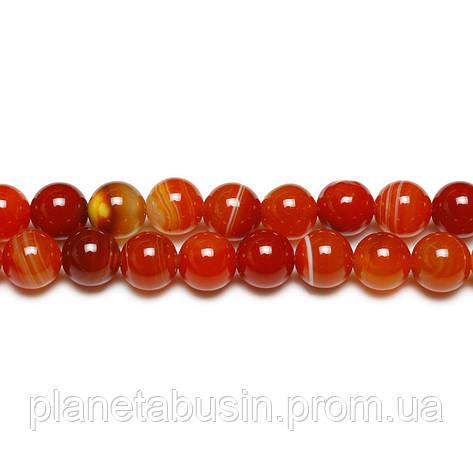 8 мм Оранжевый Полосатый Агат, CN172, Натуральный камень, Форма: Шар, Отверстие: 1мм, кол-во: 47-48 шт/нить, фото 2