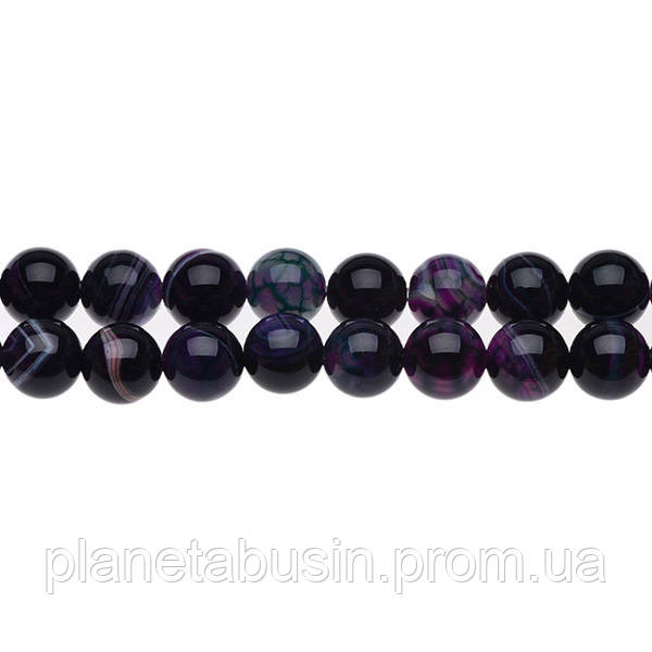 8 мм Тёмный Полосатый Агат, CN173, Натуральный камень, Форма: Шар, Отверстие: 1мм, кол-во: 47-48 шт/нить