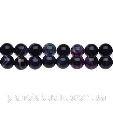 8 мм Тёмный Полосатый Агат, CN173, Натуральный камень, Форма: Шар, Отверстие: 1мм, кол-во: 47-48 шт/нить, фото 2