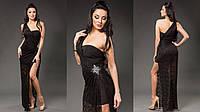 Элегантное короткое платье со съемной гипюровой накидкой