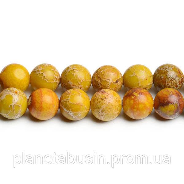 8 мм Жёлтый Варисцит, CN174, Натуральный камень, Форма: Шар, Отверстие: 1мм, кол-во: 47-48 шт/нить
