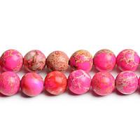 Розовый варисцит, Натуральный камень, На нитях, бусины 8 мм, Круглые, Отверстие 1 мм, кол-во: 47-48 шт/нить