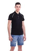 Мужская футболка поло черная с воротником.