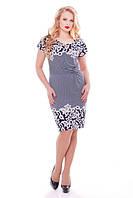 Летнее платье большого размера Белла Бежевые завитки (50-58)