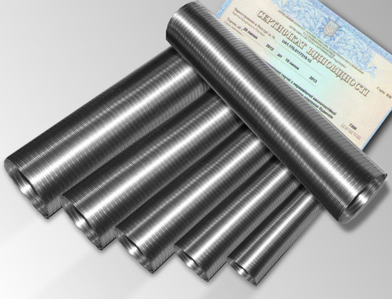 Дымоход гофрированный нержавеющая сталь ф 130мм LEX