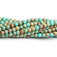 Бирюза варисцит, Натуральный камень, На нитях, бусины 8 мм, Шар, Отверстие 1 мм, кол-во: 47-48 шт/нить