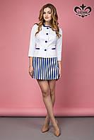 Стильный женский белый пиджак Бриз ТМ Luzana 42-50 размеры