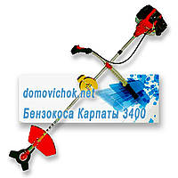 Бензокоса Карпаты 3400 2 шпули+2 ножа (3-х лепестковый+8 зубцовый), фото 1
