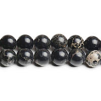 Чёрный варисцит, Натуральный камень, На нитях, бусины 8 мм, Круглые, Отверстие 1 мм, кол-во: 47-48 шт/нить