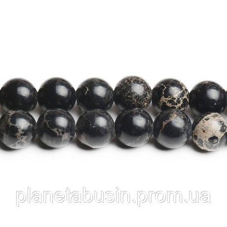 8 мм Чёрный Варисцит, CN179, Натуральный камень, Форма: Шар, Отверстие: 1мм, кол-во: 47-48 шт/нить, фото 2