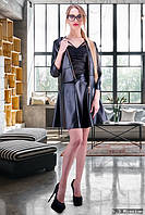 Стильный женский кожаный костюм у-500077
