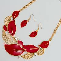 Колье золотистое-красное с золотом