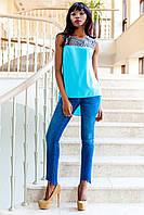 Яркая Туника Блуза с Удлиненной Спинкой Голубая р. S M L XL S