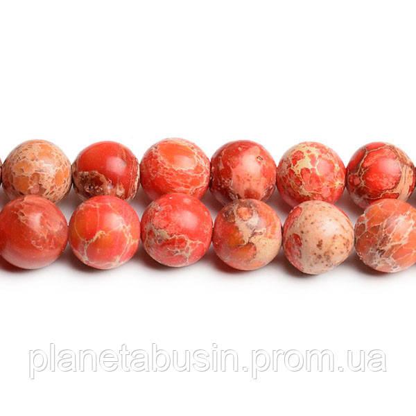 8 мм Оранжевый Варисцит, CN182, Натуральный камень, Форма: Шар, Отверстие: 1мм, кол-во: 47-48 шт/нить