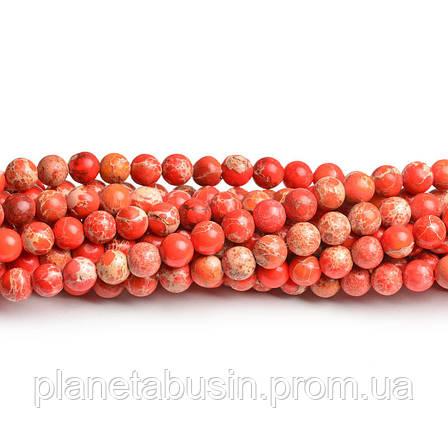 8 мм Оранжевый Варисцит, CN182, Натуральный камень, Форма: Шар, Отверстие: 1мм, кол-во: 47-48 шт/нить, фото 2
