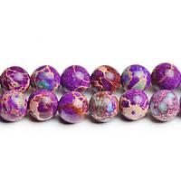 Фиолетовый варисцит, Натуральный камень, На нитях, бусины 8 мм, Круглые, Отверстие 1 мм, кол-во: 47-48 шт/нить