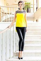 Яркая Туника Блуза с Удлиненной Спинкой Желтая р. S M L XL XL